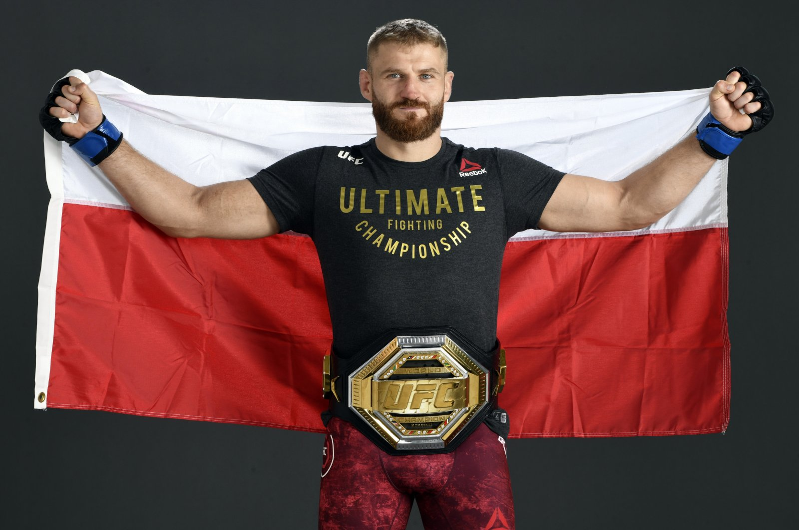 Poland's Jan Blachowicz poses for a post-fight portrait ahead of UFC 253 on UFC Fight Island, in Abu Dhabi, United Arab Emirates, Sept. 27, 2020. (Getty Images Photo)