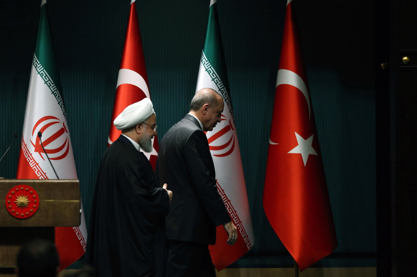 President Recep Tayyip Erdoğan and Iranian President Hassan Rouhan leave after a joint press conference in the capital Ankara, Turkey, Dec. 20, 2018. (Sabah Photo)