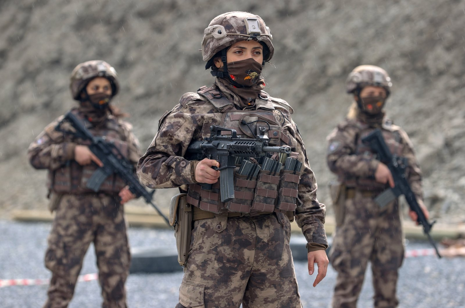 Policewomen in a special operations unit receive their training in eastern Hakkari province on March 7, 2021. (AA Photo)