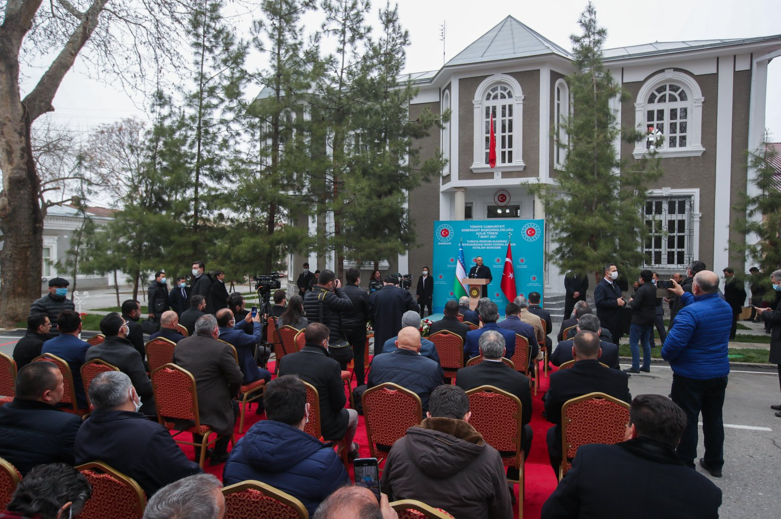 Foreign Minister Mevlüt Çavuşoğlu speaks at the inauguration ceremony of the new Turkish Consulate-General in the Uzbek city of Samarkand on Sunday, March 7, 2021 (AA Photo)