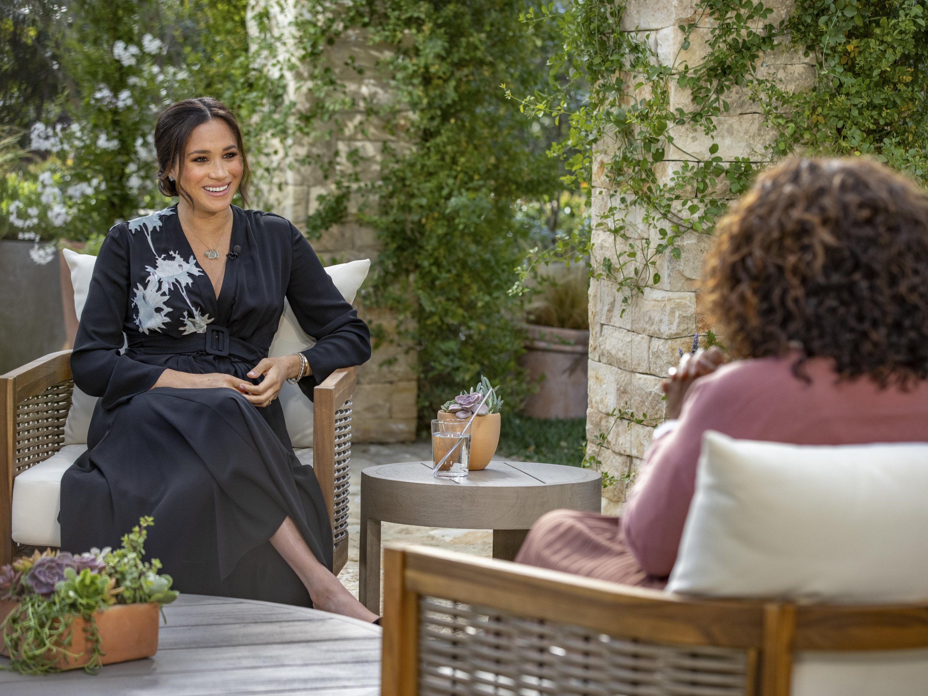 Meghan, Duchess of Sussex (Left), speaks with U.S. television host Oprah Winfrey during the interview, U.S., March 7, 2021. (AP)