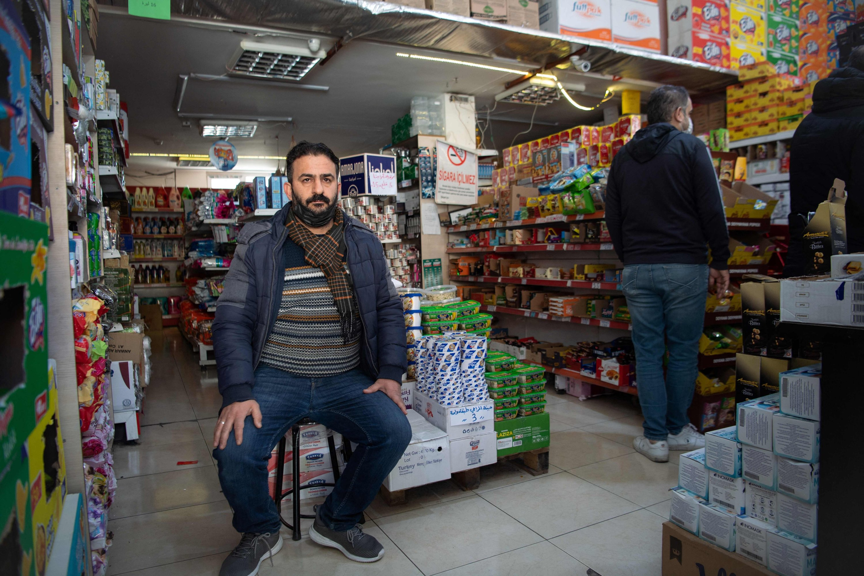 Shopkeeper Khader al-Houssein, aged 41, poses during an interview in Gaziantep, Turkey, Feb. 25, 2021. (AFP)