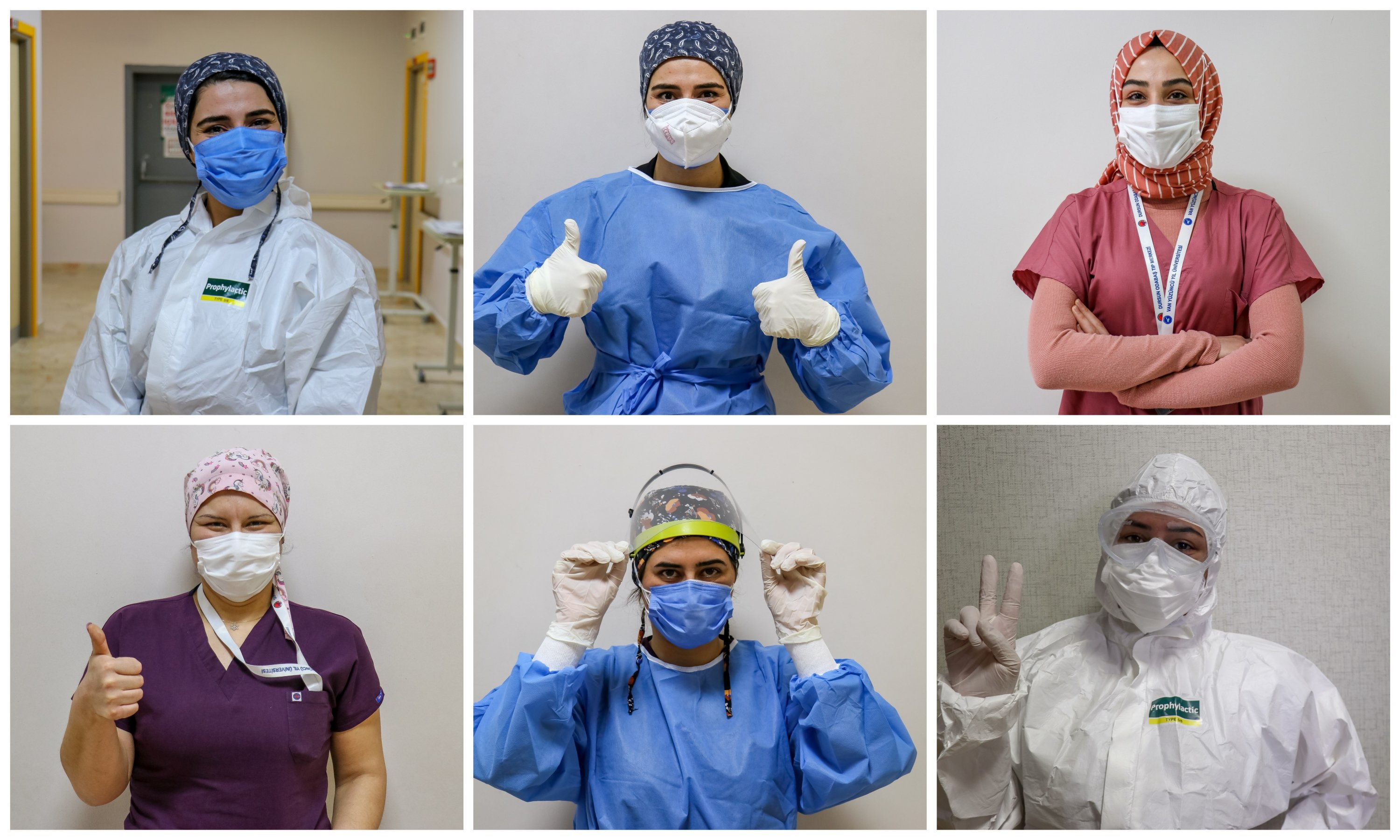 A collage of photos of doctors and nurses working at a medical center in Van, eastern Turkey, Mar. 8, 2021. (AA PHOTO)