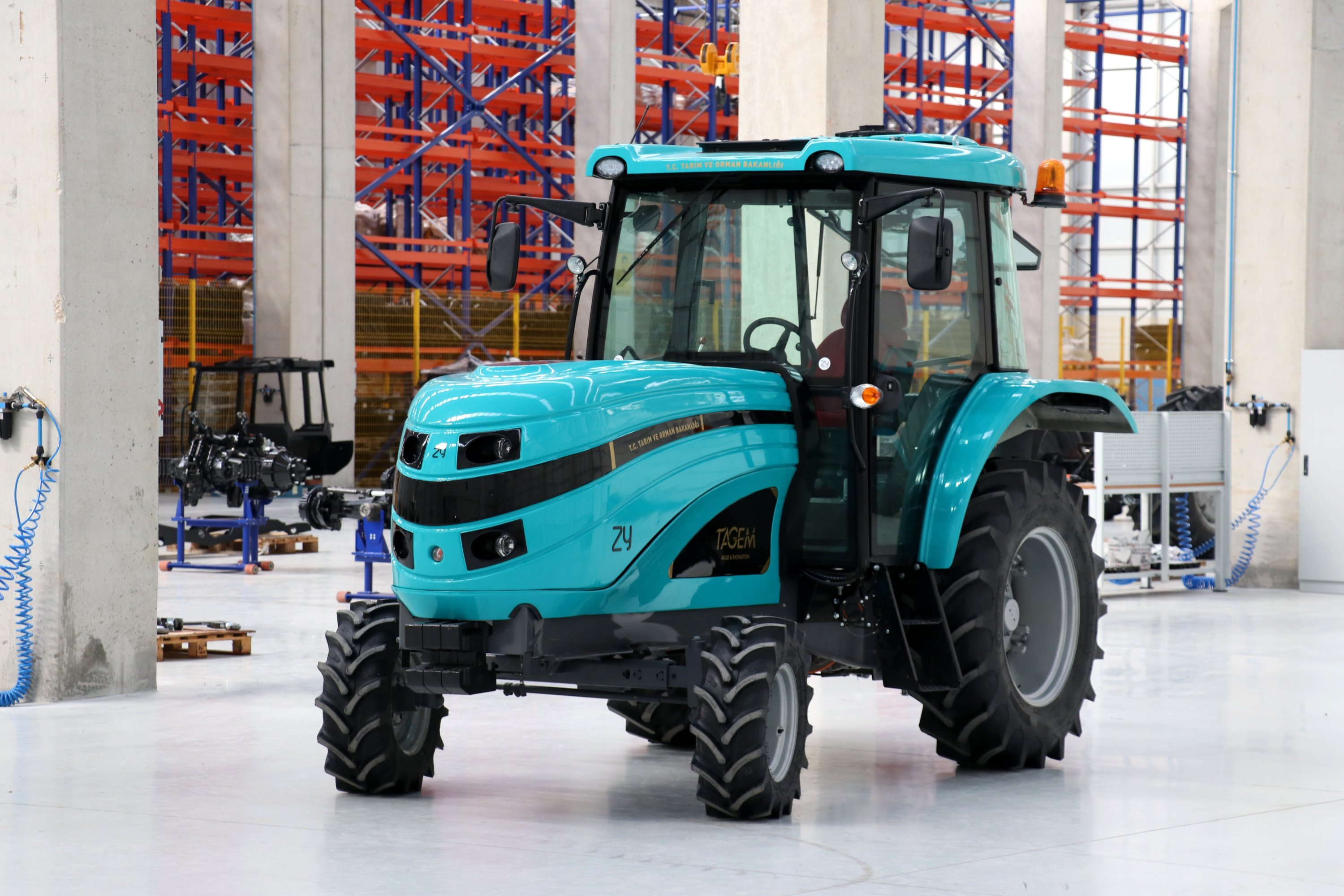 A middle-size version of the electric tractor produced by ZY Electric Tractor at the factory in Istanbul, Turkey, March 8, 2021. (AA Photo)