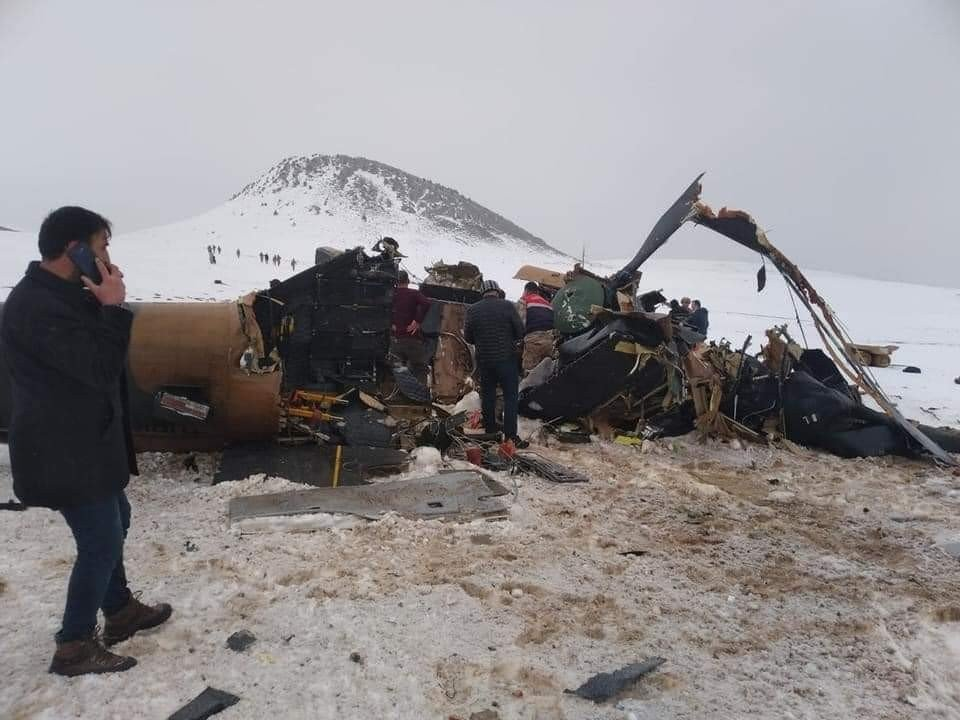A view of the wrecked helicopter at the crash site, in Bitlis, eastern Turkey, Mar. 4, 2021. (İHA PHOTO)