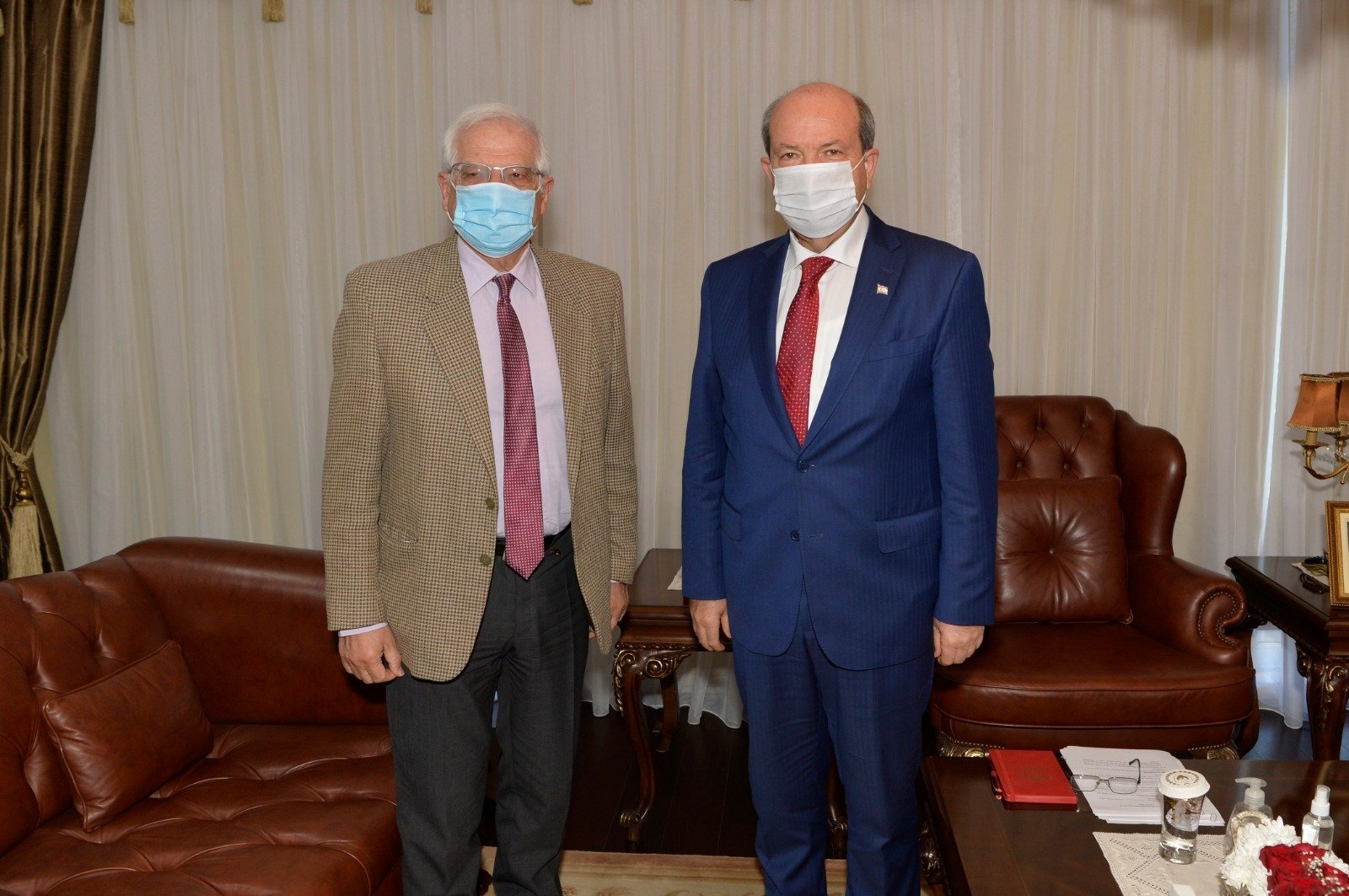 EU Foreign Policy Chief Josep Borrell poses with TRNC President Ersin Tatar in Lefkoşa, on March 5, 2021 (IHA Photo)
