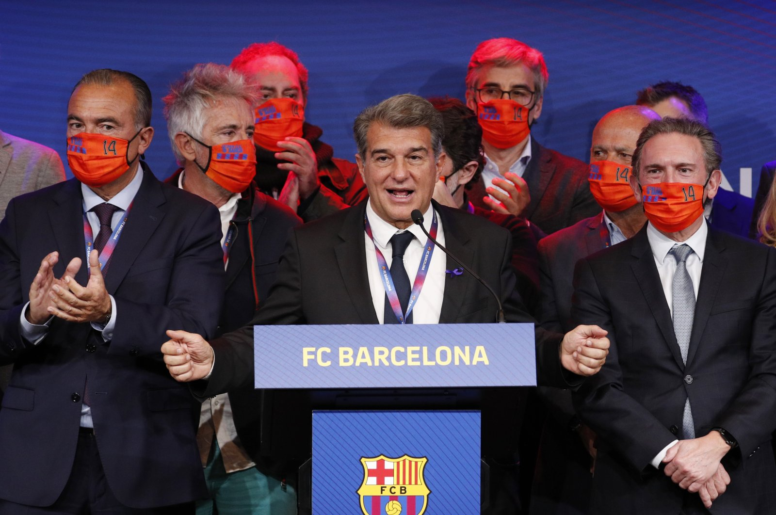 Newly elected FC Barcelona president Joan Laporta and his staff during a press conference at Camp Nou stadium in Barcelona, Spain, March 8, 2021. (Reuters Photo)