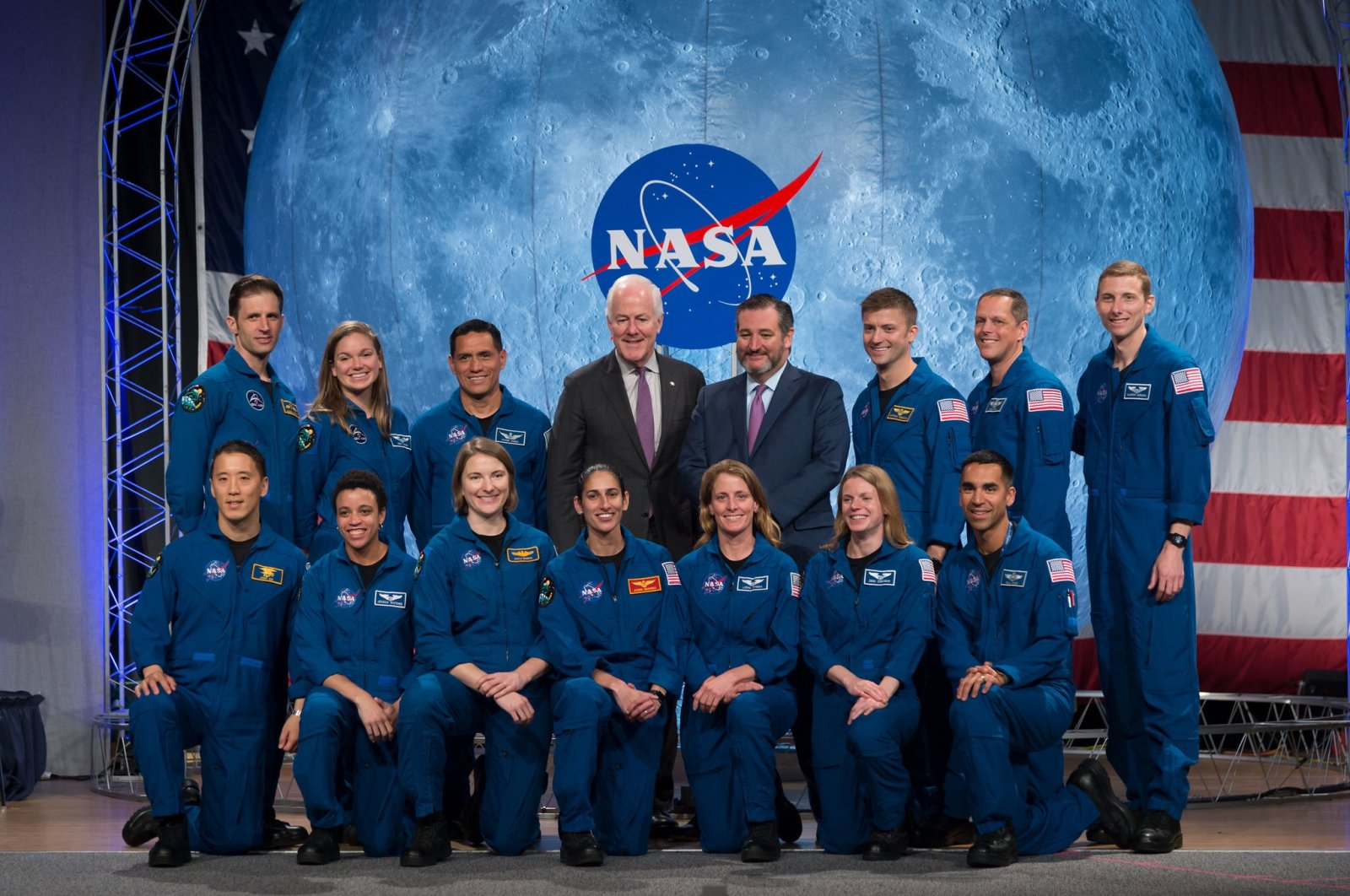 US Senators Ted Cruz and John Cornyn pose with Nasa and Canadian Space Agency graduating astronauts during the ceremony at Johnson Space Center in Houston Texas, on January 10, 2020. (AFP Photo)
