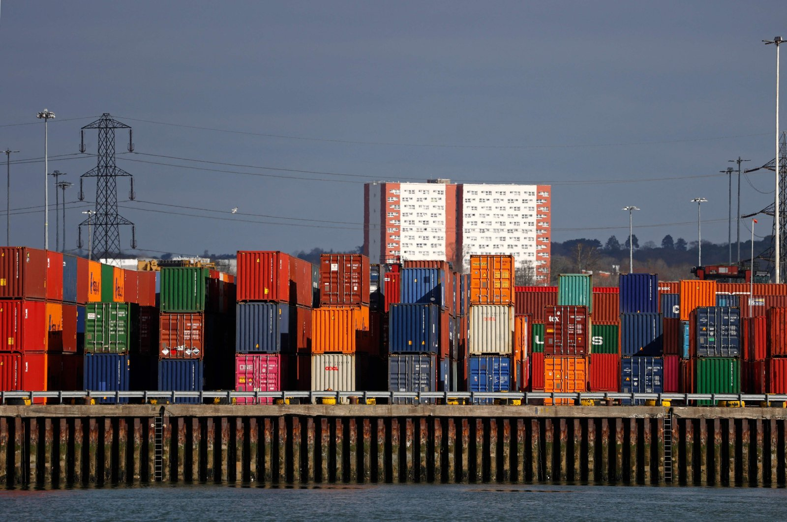 Shipping containers at the Port of Southampton, on the south coast of England, March 5, 2021. (AFP Photo)