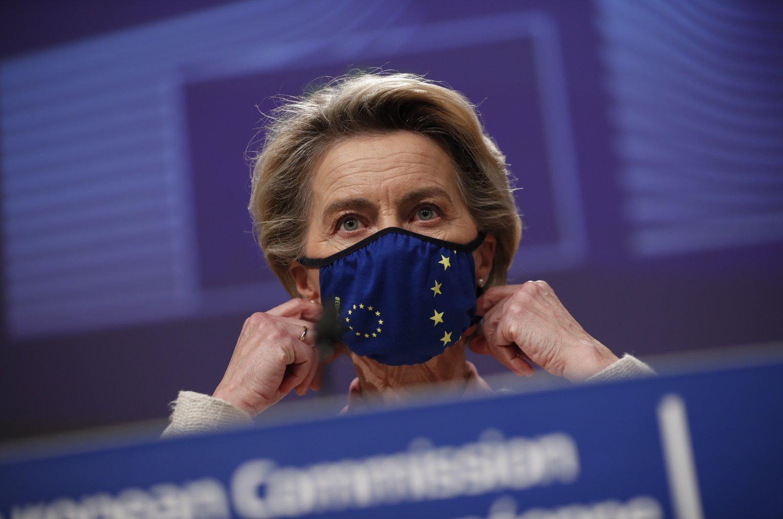 European Commission President Ursula von der Leyen prepares to address a media conference at EU headquarters in Brussels, Dec. 24, 2020. (AP Photo)