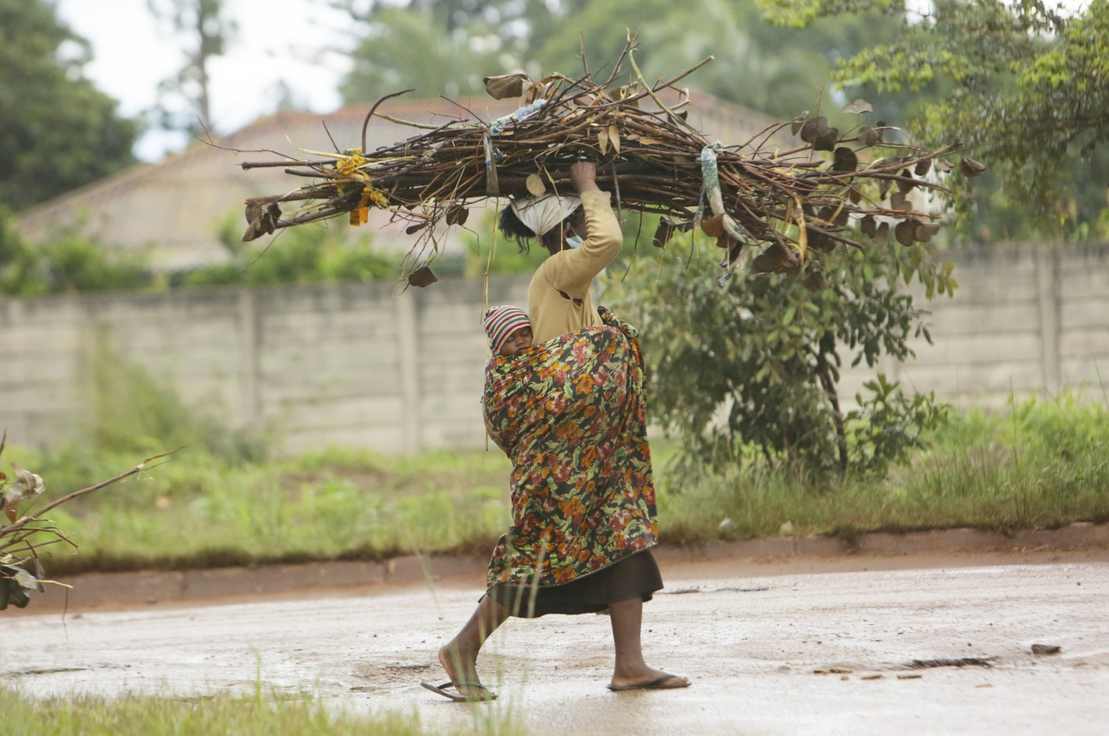 A woman with a baby strapped on her back carries firewood for cooking on the streets of Harare, March 2, 2021. (AP Photo)