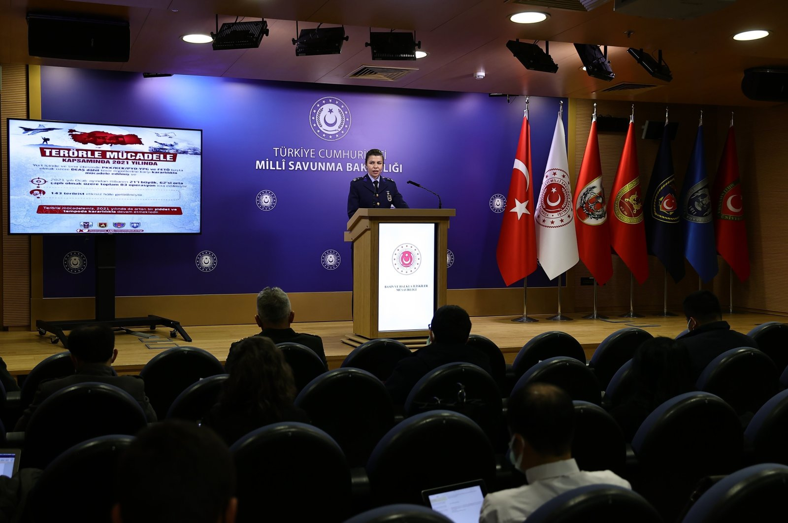 The Turkish Defense Ministry gives a press briefing to journalists in the capital Ankara, Turkey, March 8, 2021. (IHA Photo)