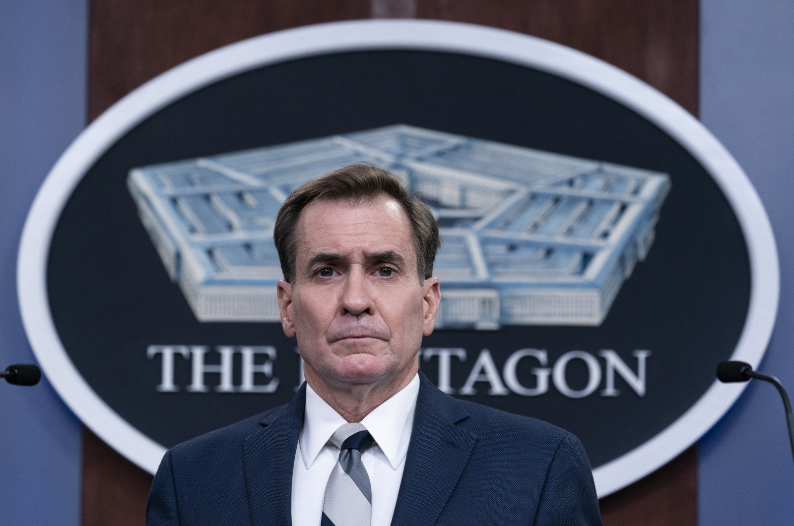 Pentagon spokesman John Kirby listens to a question during a media briefing at the Pentagon, Friday, March 5, 2021, in Washington. (AP Photo)