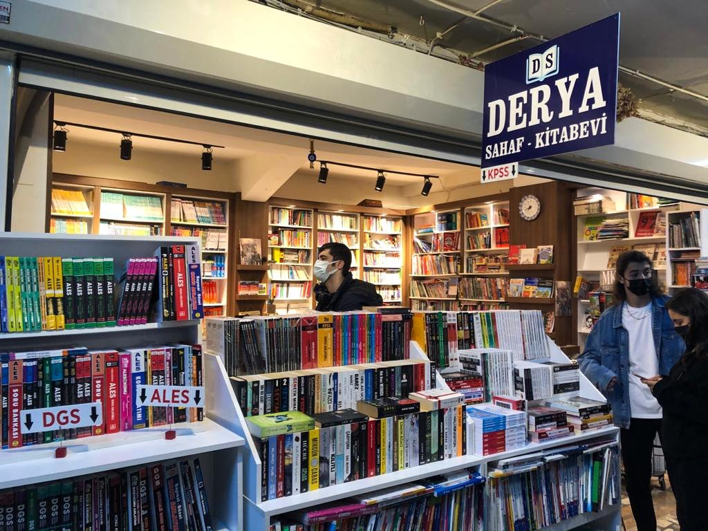 Many of the secondhand bookstores inside the Akmar Pasajı also carry textbooks. (Photo by Matt Hanson)