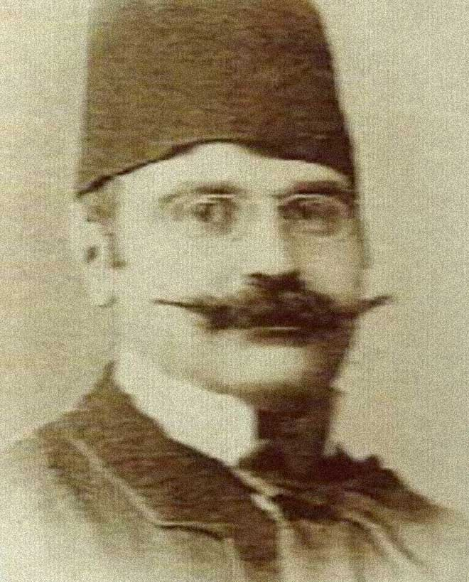 A photo of Armenian Ottoman calligrapher Krikor Köçeoğlu.