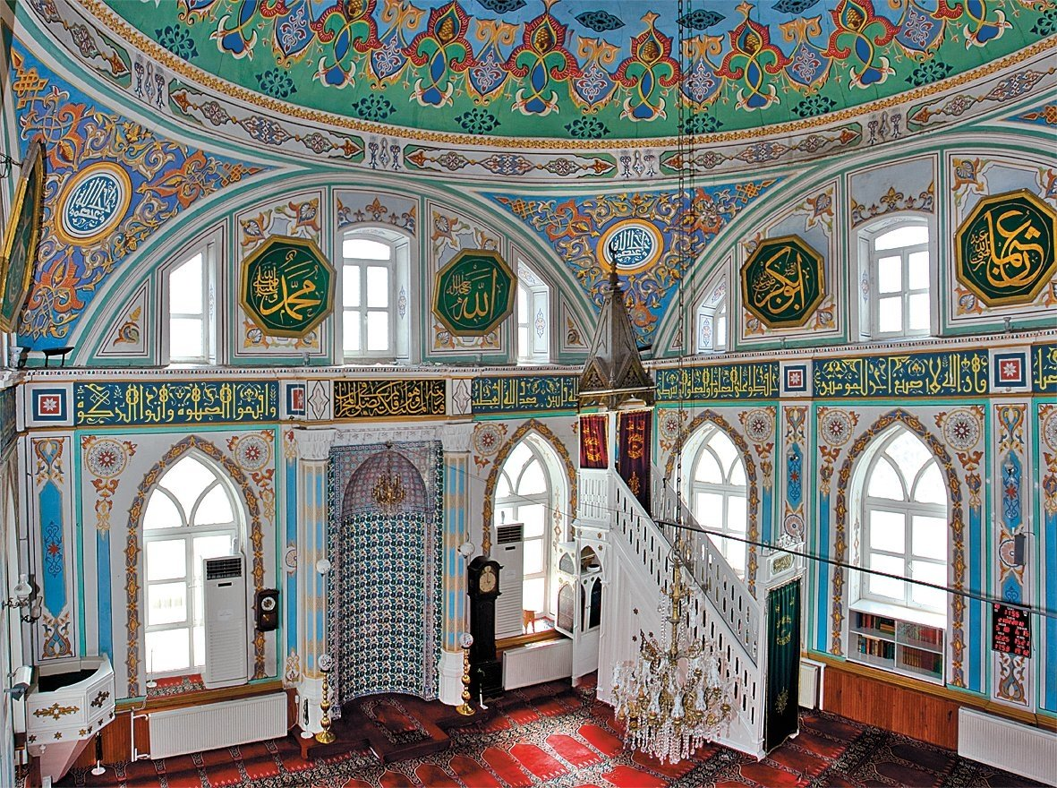 An interior view from the Zühtü Pasha Mosque shows its calligraphic decorations, Kadıköy, Istanbul.