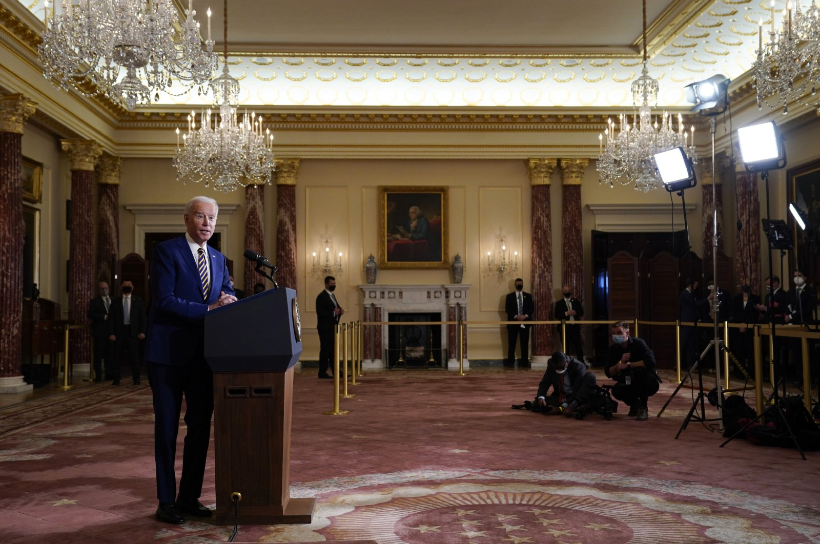 U.S. President Joe Biden speaks about foreign policy at the State Department, Washington, D.C., U.S., Feb. 4, 2021. (AP Photo)