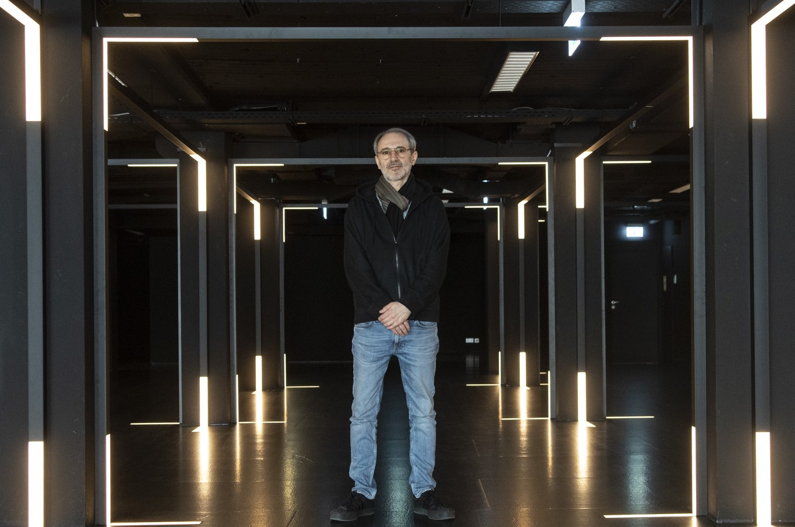 Alex Azary, chairperson of the association Museum of Modern Electronic Music (MOMEN), at a press event in the future premises of Frankfurt am Main's electronic music museum. (DPA)