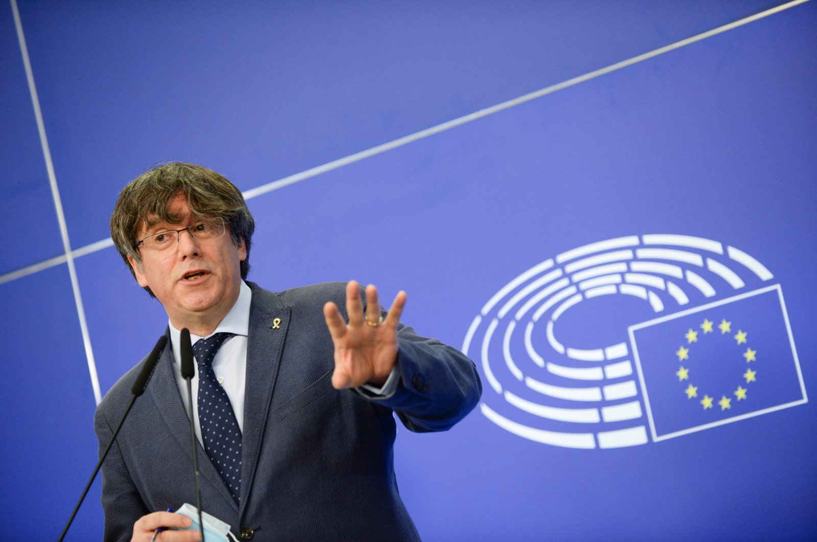 Former President of Catalonia Carles Puigdemont speaks at the European Parliament in Brussels, Belgium, Feb. 24, 2021. (Reuters Photo)
