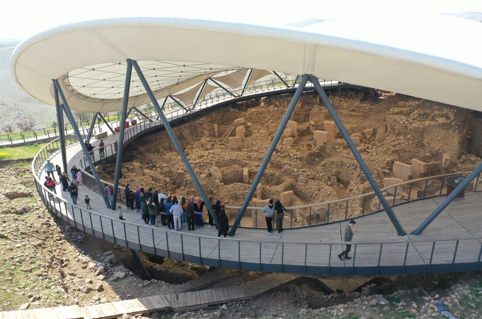 Some visitors visit the ancient site of Göbeklitepe, Şanlıurfa, southeastern Turkey, March 8, 2021. (AA Photo)