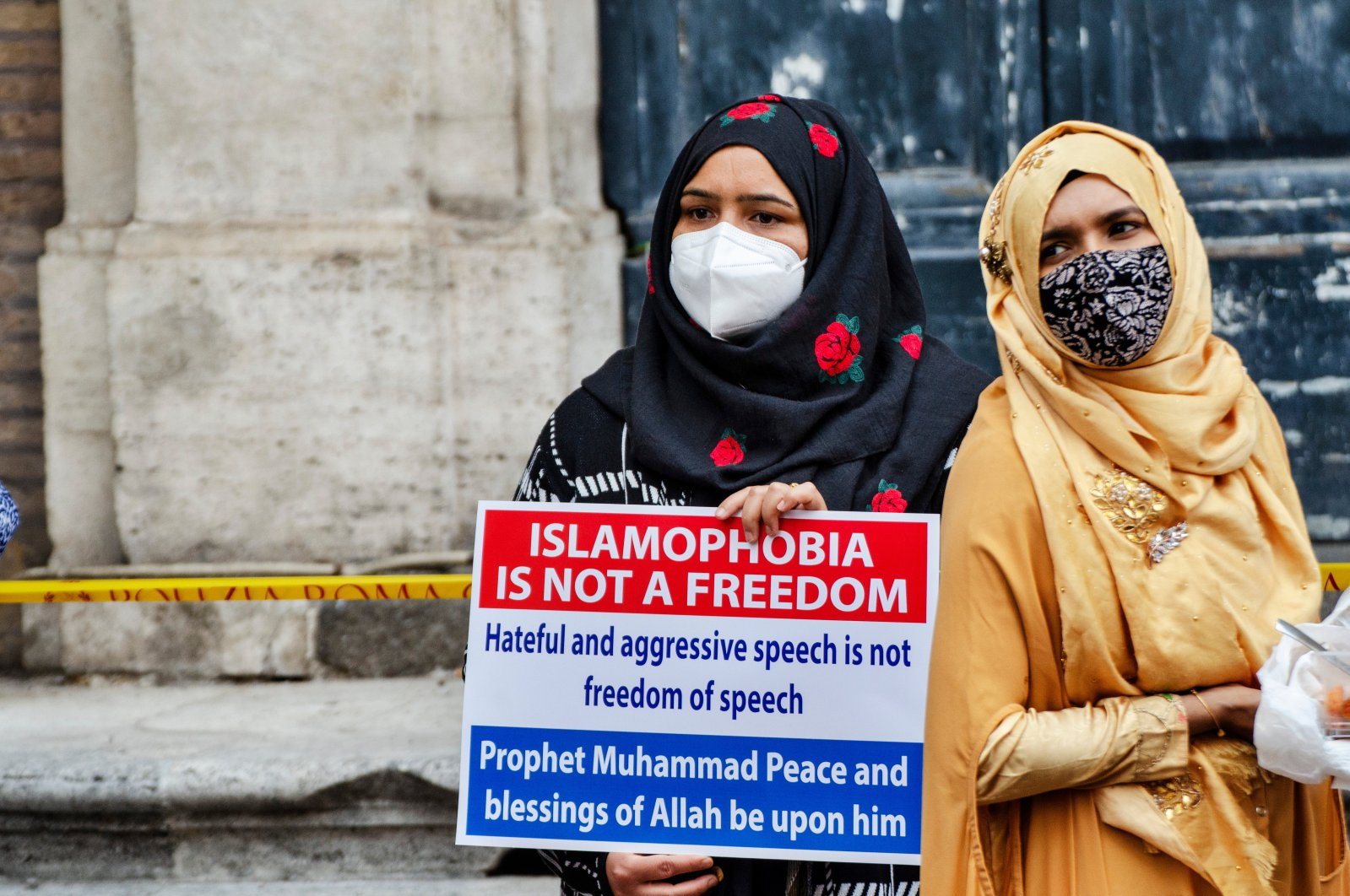 Members of an Italian Muslim association stage a sit-in and prayer to condemn what they see as persecutory acts against the Islamic community in France, Rome, Italy, Oct. 30, 2020. (Shutterstock Photo)