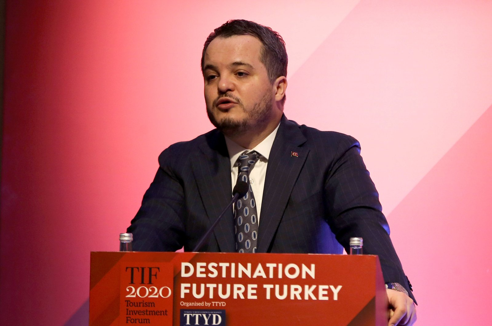 Investment office head Arda Ermut delivers a speech during an event in Istanbul, Turkey, Jan. 29, 2020. (AA Photo)