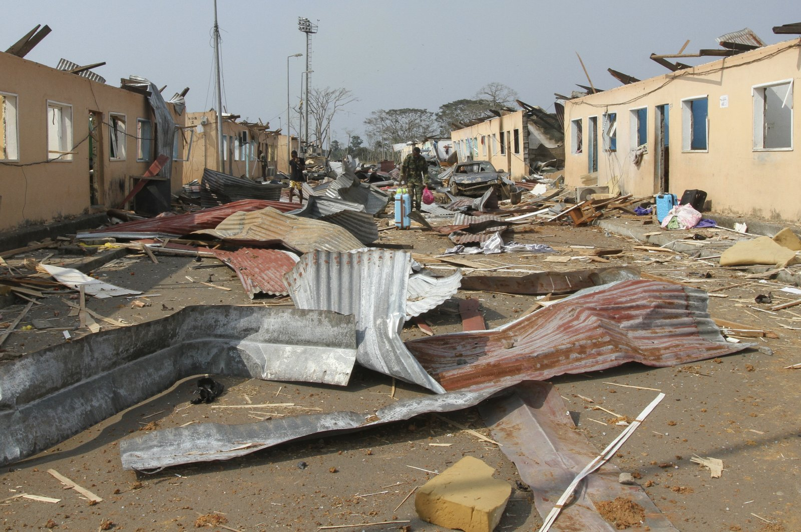 A general view of the aftermath of an explosion in Bata, Equatorial Guinea, March 8, 2021. (EPA-EFE Photo)