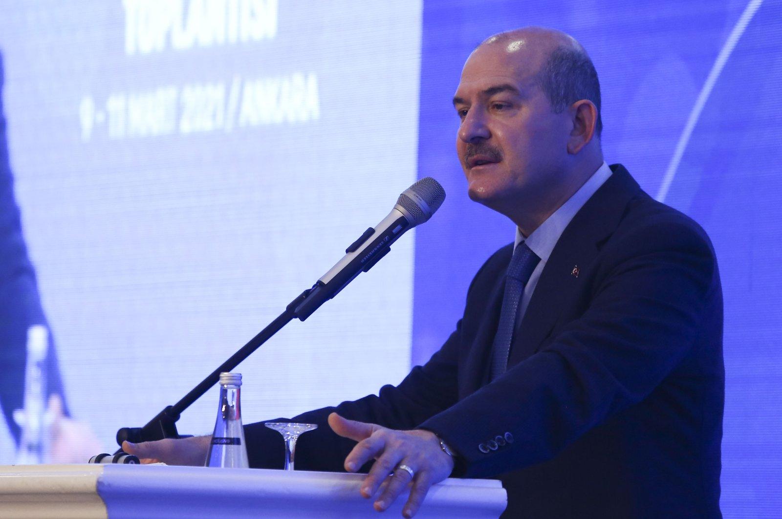 Interior Minister Süleyman Soylu speaks in the capital Ankara, Turkey, March 9, 2021. (İHA Photo)