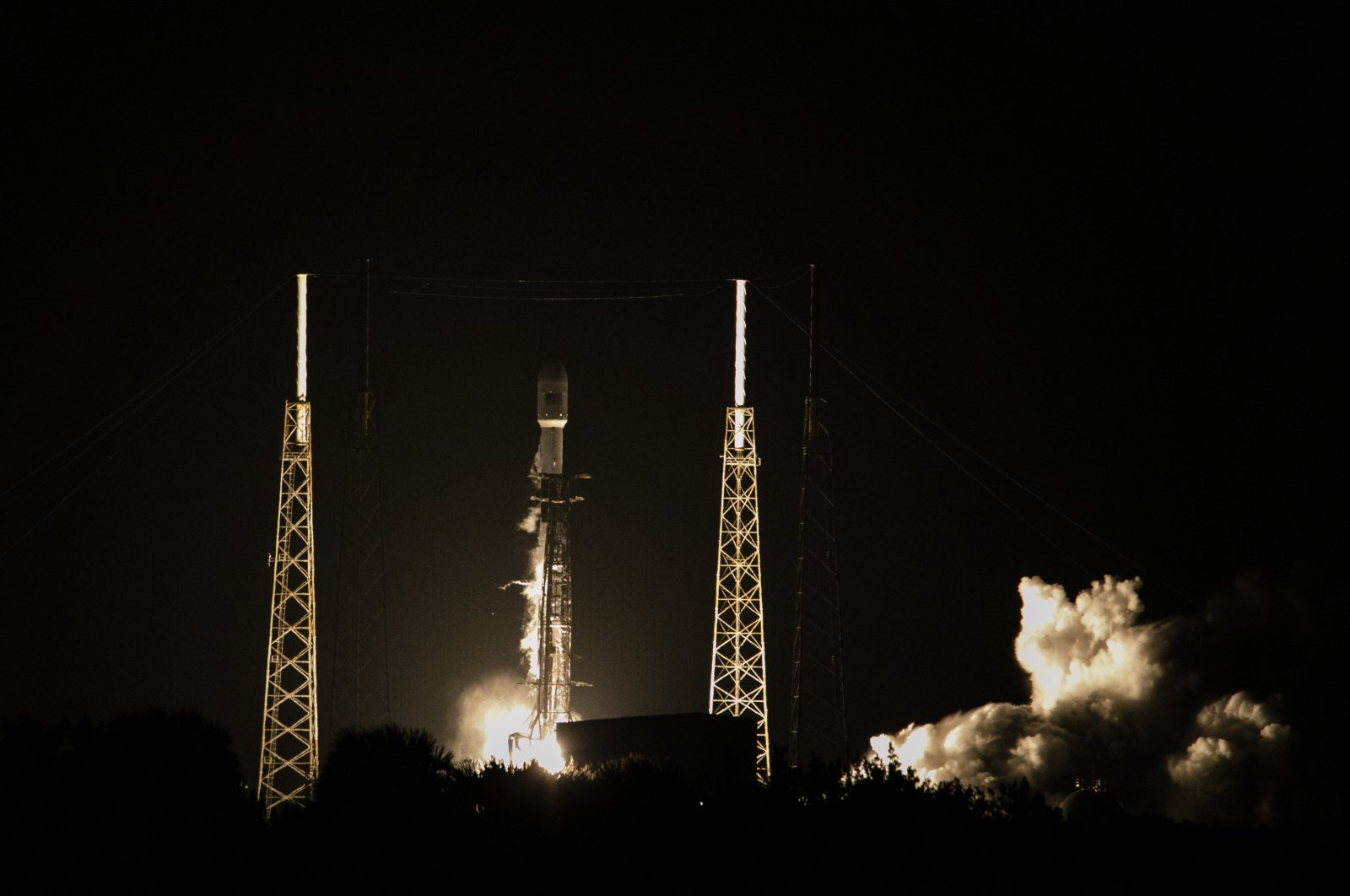 Turkey's new satellite Türksat 5A, carried by a SpaceX Falcon 9 rocket, launches from Cape Canaveral Space Force Station, in Cape Canaveral, Florida, U.S., Jan. 7, 2020. (AA Photo)