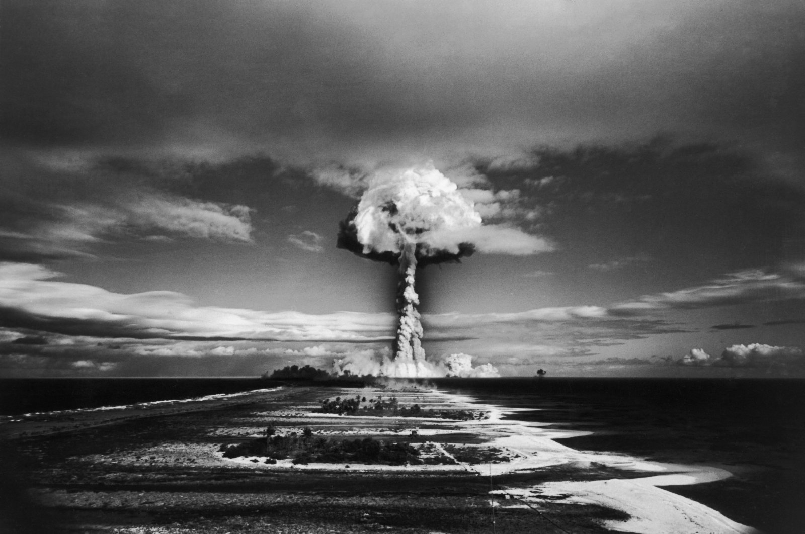 A mushroom cloud forms as a nuclear test is carried out at Mururoa, Tuamotu Archipelago in French Polynesia, Oct. 30, 1971. (Gamma-Rapho via Getty Images)