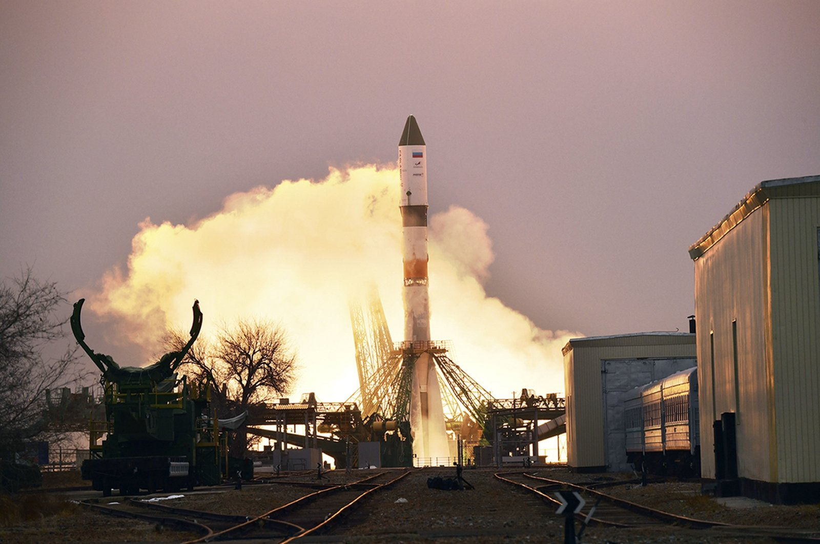 In this photo provided by Roscosmos Space Agency Press Service, the Progress MS-16 cargo blasts off from the launch pad at Russia's space facility in Baikonur, Kazakhstan, Feb. 15, 2021. (AP Photo)