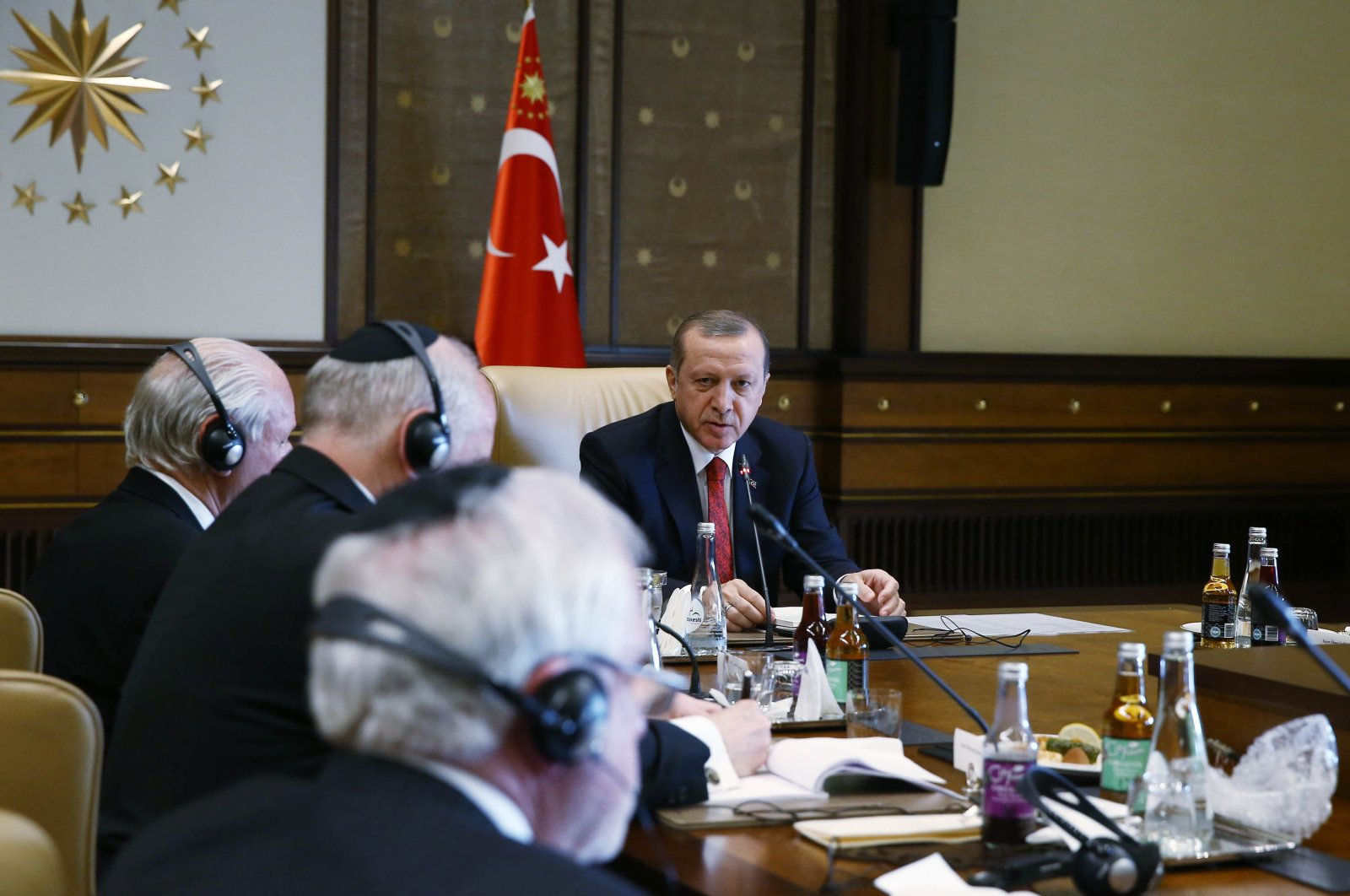 President Recep Tayyip Erdoğan attends a meeting with the Conference of Presidents of Major American Jewish Organizations at the Presidential Complex in Ankara on Feb. 9, 2016 (Presidency File Photo)