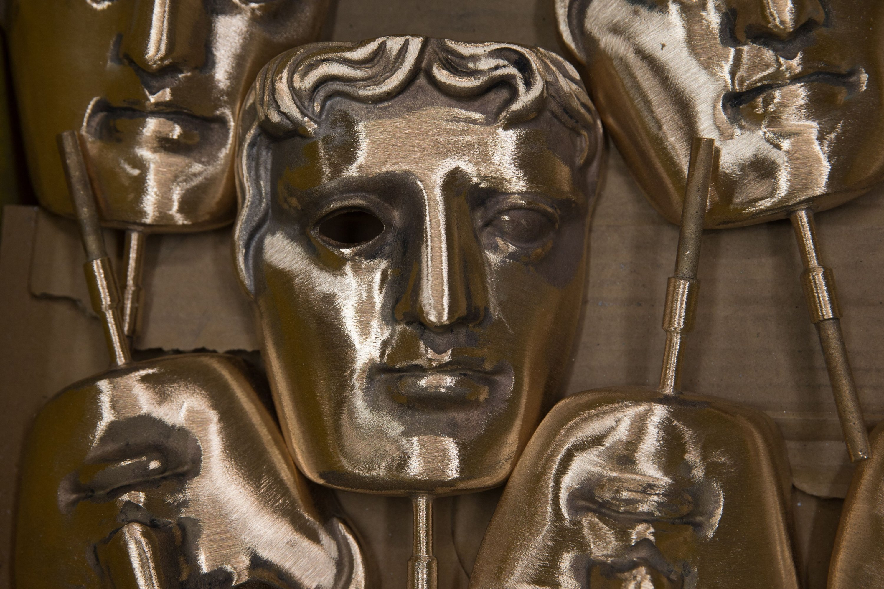 In this file photo polished BAFTA masks sit in a box during a photocall at the New Pro Foundries, west of London, the U.K., Jan. 31, 2017, (AFP Photo)