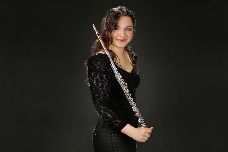 Flutist Ece Selin Yüksel who graduated from Ankara University of Music and Fine Arts. (AA Photo)