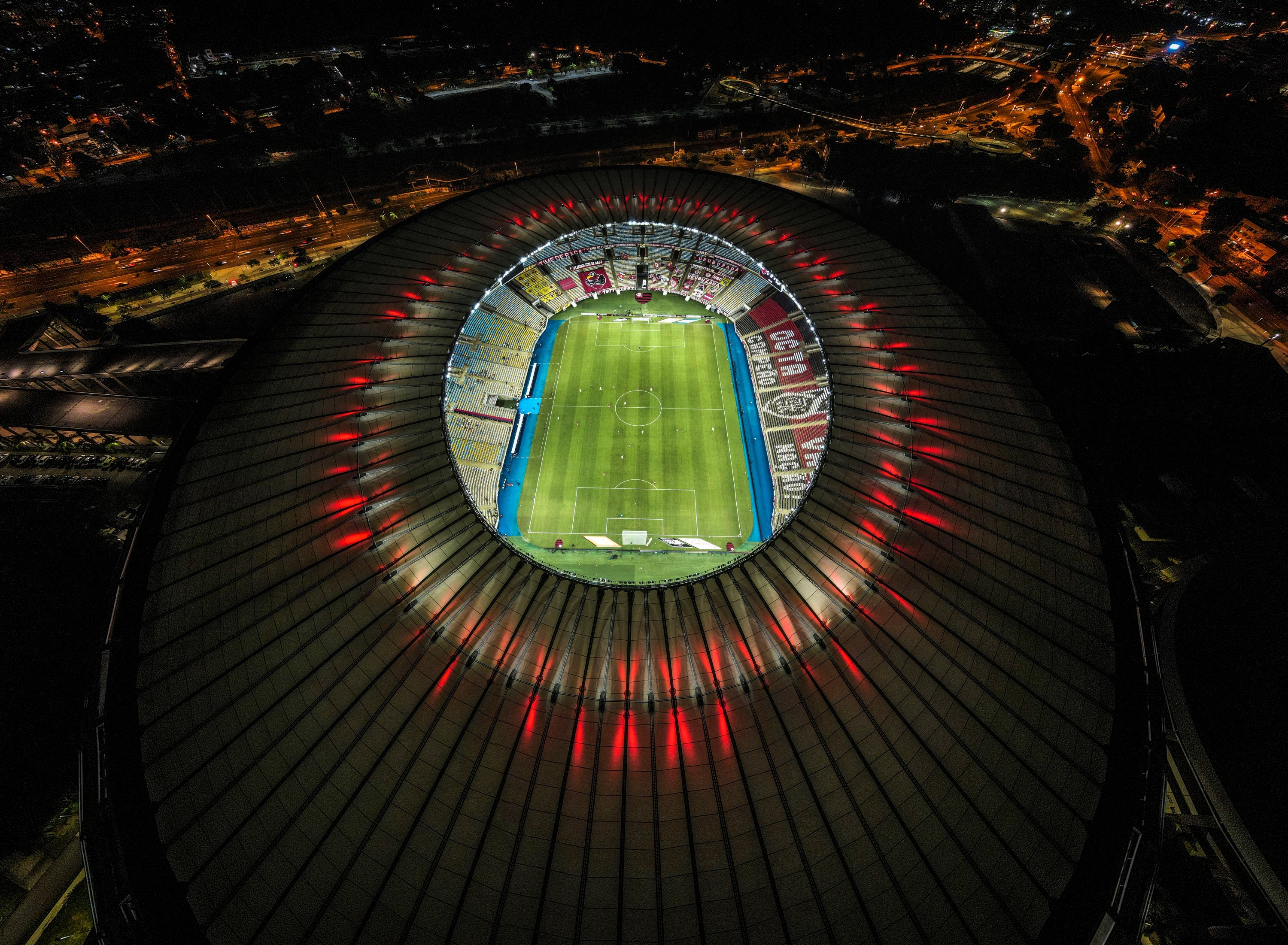 A picture taken with a drone shows the Maracana Stadium prior to the match between Flamengo and Nova Iguacu, during the opening of the Carioca championship in Rio de Janeiro, Brazil, March 02, 2021. (EPA Photo)