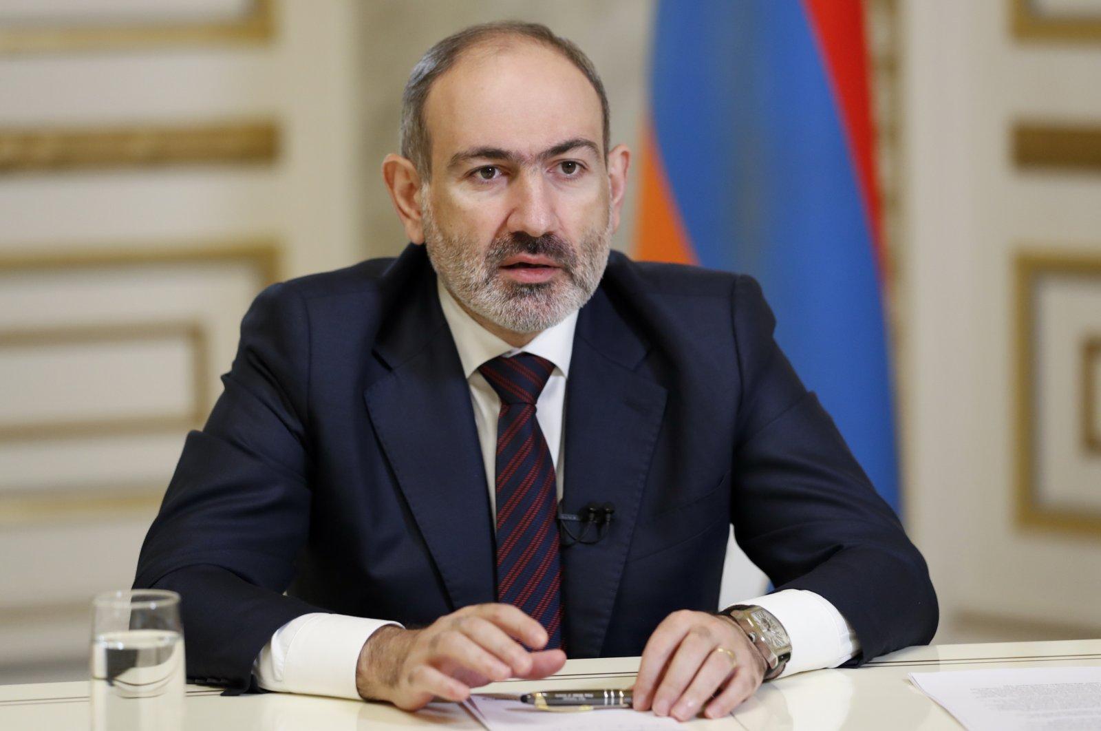 Armenian Prime Minister Nikol Pashinian addresses the nation in Yerevan, Armenia, Dec. 5, 2020. (AP Photo)
