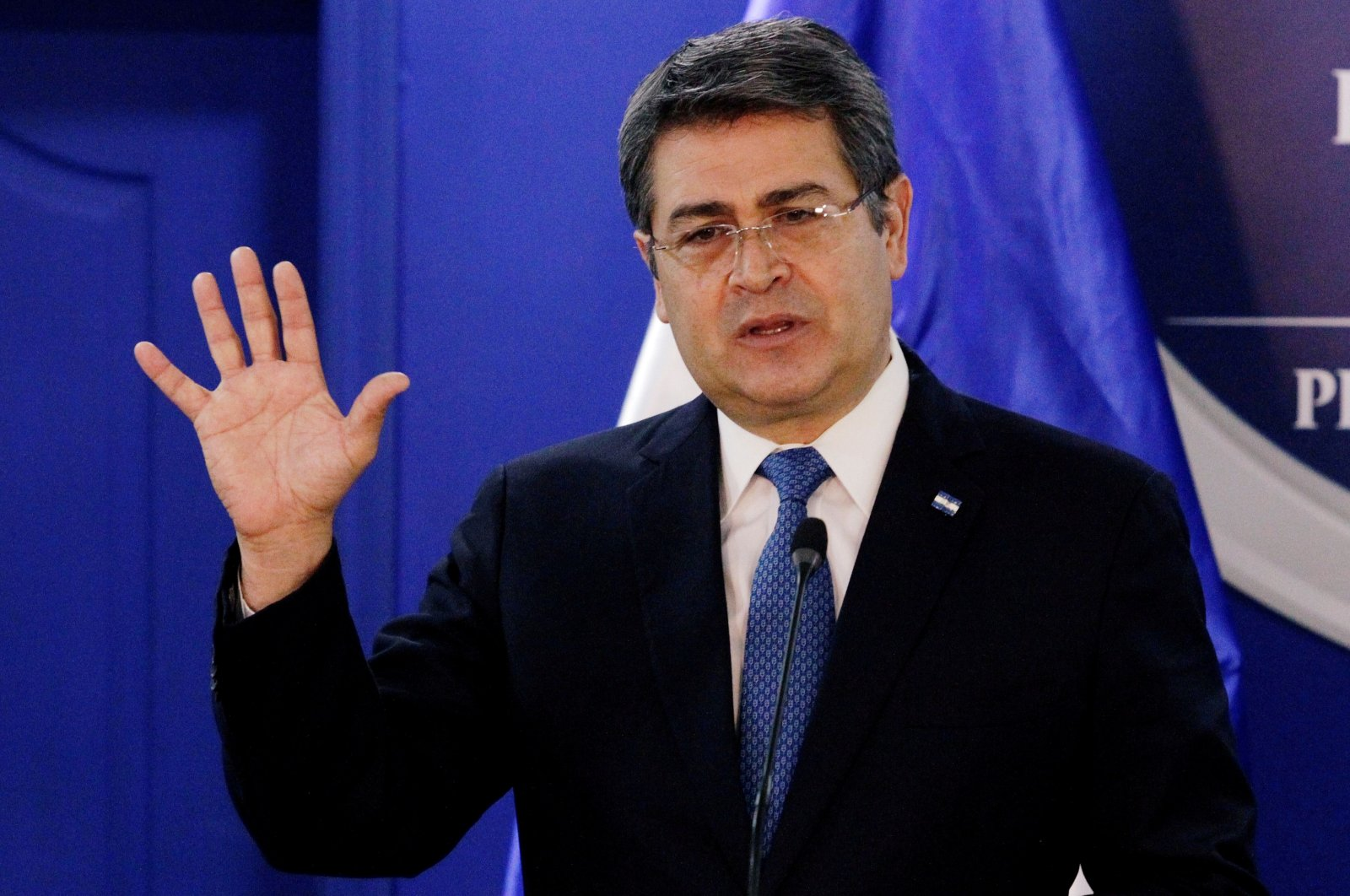 Honduras' President Juan Orlando Hernandez speaks during a joint message with U.S. Department of Homeland Security (DHS) acting Secretary Chad Wolf (not pictured), at the Presidential House in Tegucigalpa, Honduras Jan. 9, 2020. (Reuters Photo)