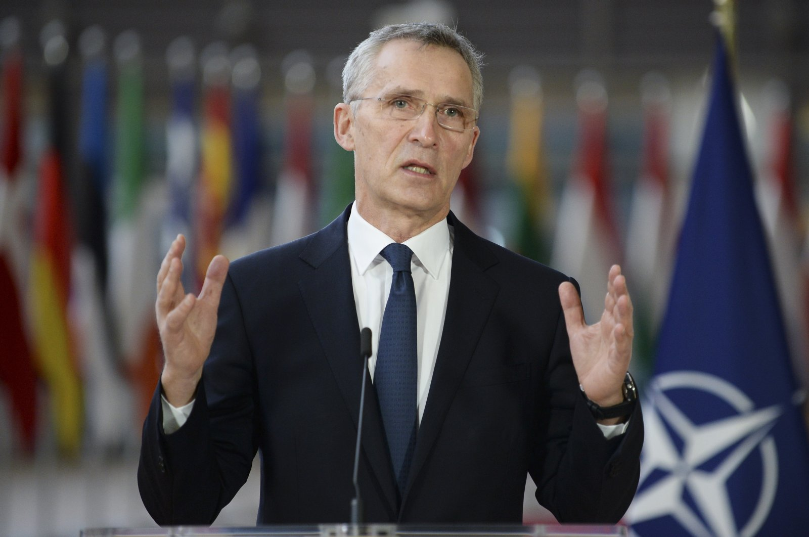 NATO Secretary-General Jens Stoltenberg speaks to the press ahead of a videoconference on security and defense and on the EU's Southern Neighborhood, in Brussels, Belgium, Feb. 26, 2021. (EPA File Photo)