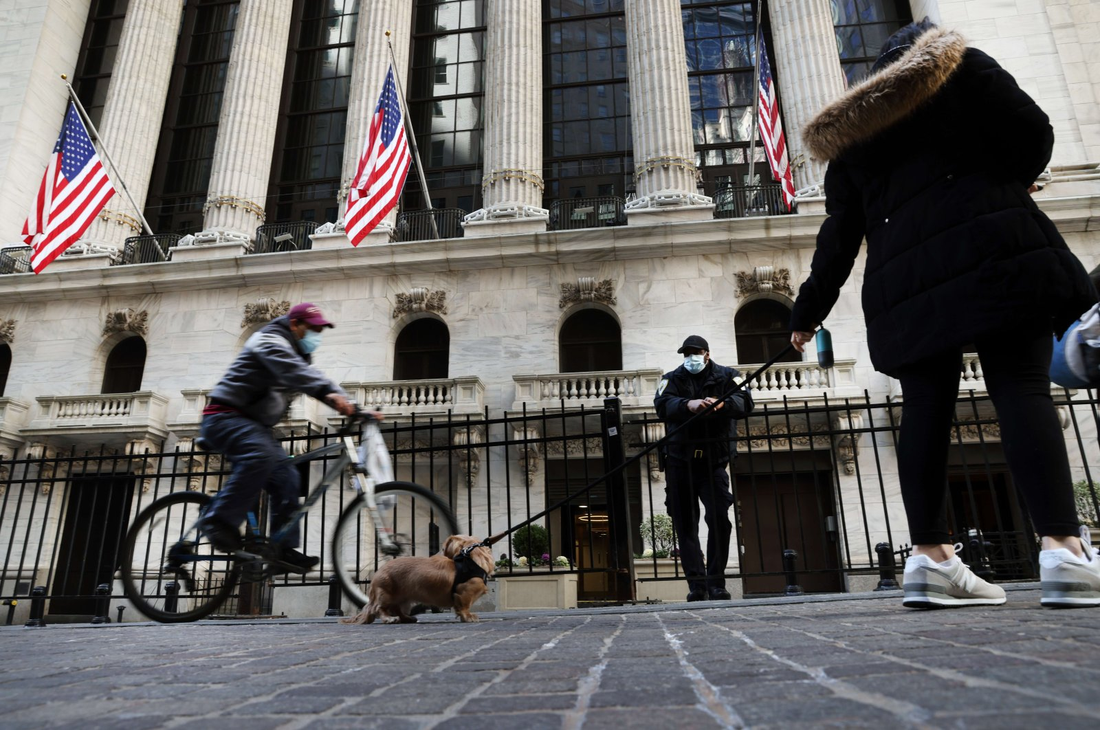 The New York Stock Exchange (NYSE) stands in lower Manhattan in New York City, U.S. March 9, 2021. (AFP Photo)
