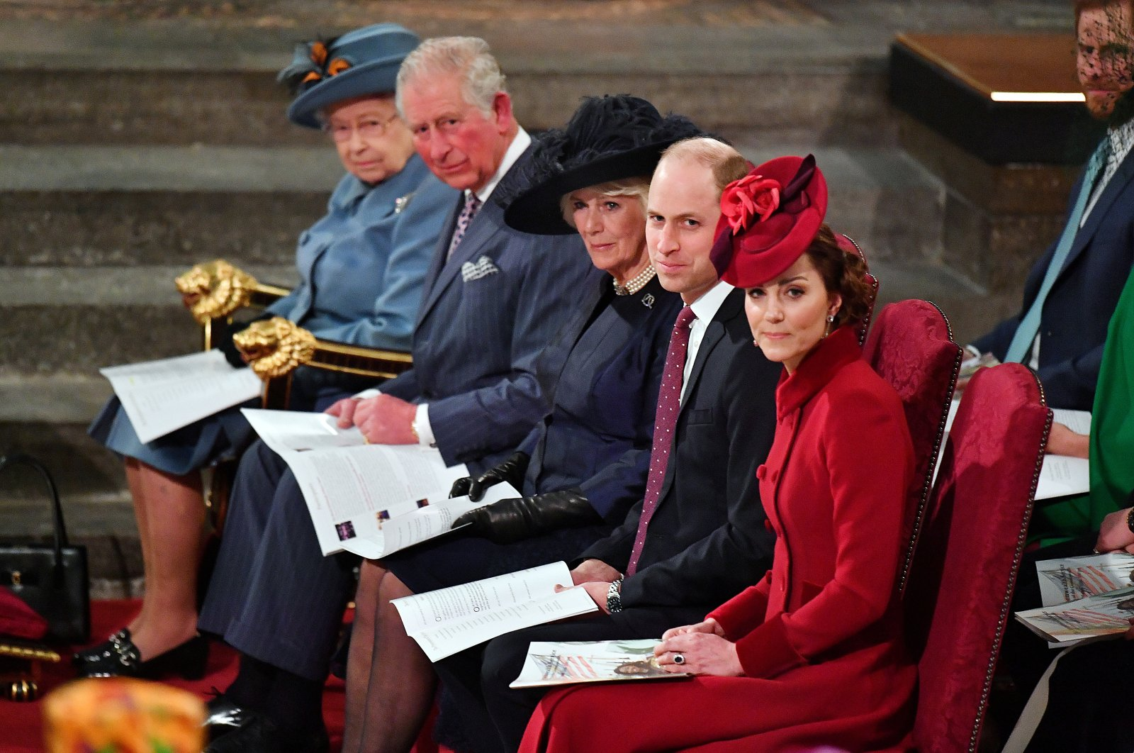 Britain's Queen Elizabeth II, Prince Charles, Camilla, Duchess of Cornwall, Prince Harry and Meghan, Duchess of Sussex, and Prince William and Catherine, Duchess of Cambridge, attend the annual Commonwealth Service at Westminster Abbey in London, Britain, March 9, 2020. (Reuters Photo)