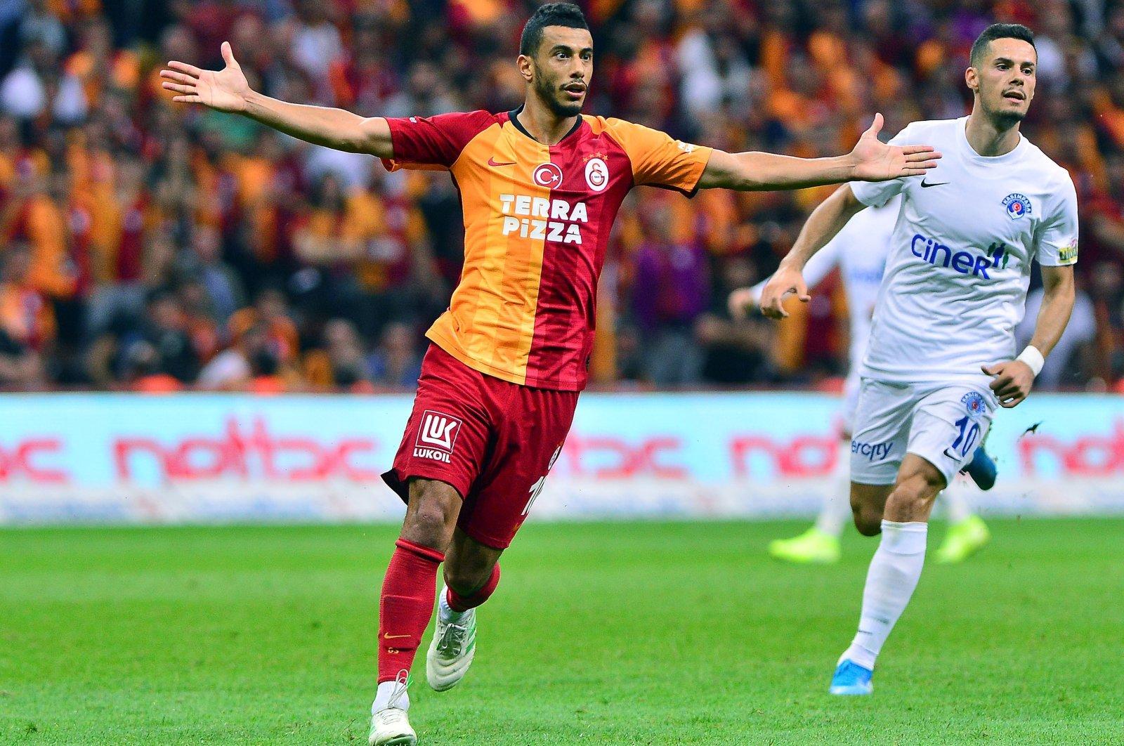 Galatasaray's Moroccan midfielder celebrates a goal against Kasımpaşa at theRecep Tayyip Erdoğan Stadium, Istanbul, Turkey, Feb. 17, 2019.