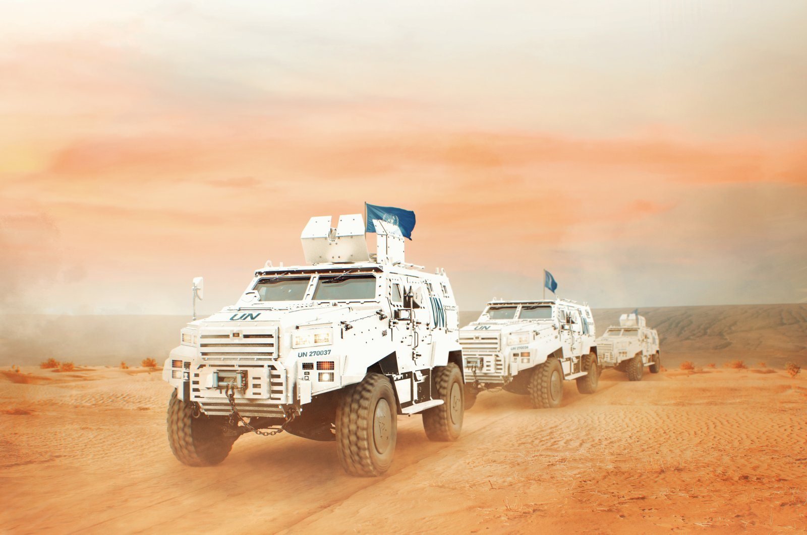 Ejder Yalçın 4x4 vehicles tailored for U.N. Peacekeeping seen in the photo provided on March 10, 2021. (Photo by Nurol Makina via AA)