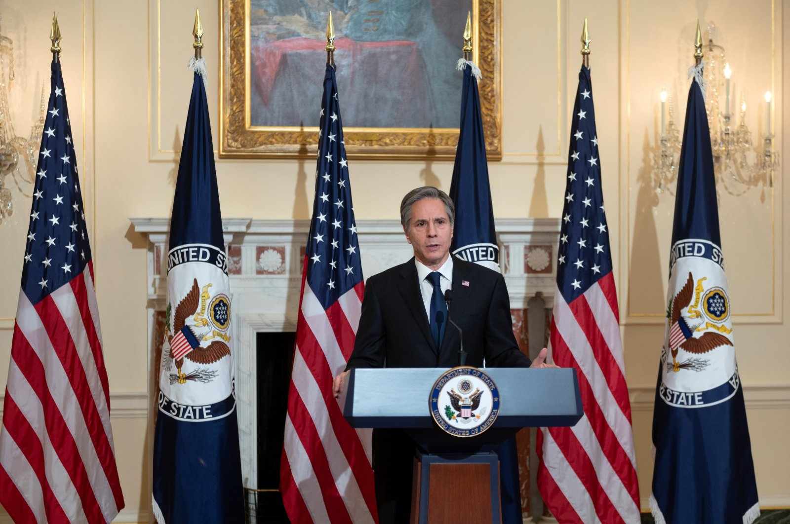U.S. Secretary of State Antony Blinken delivers remarks about priorities for administration of U.S. President Joe Biden in the Ben Franklin room at the State Department in Washington, U.S. March 3, 2021. (Reuters Photo)