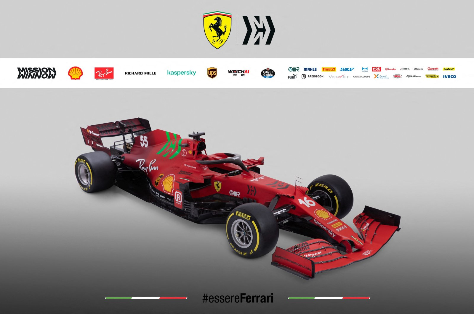 This image handout by the Ferrari Press Office in Maranello shows Ferrari's new single-seater Formula One SF21 for the 2021 season,March 10, 2021. (AFP Photo)