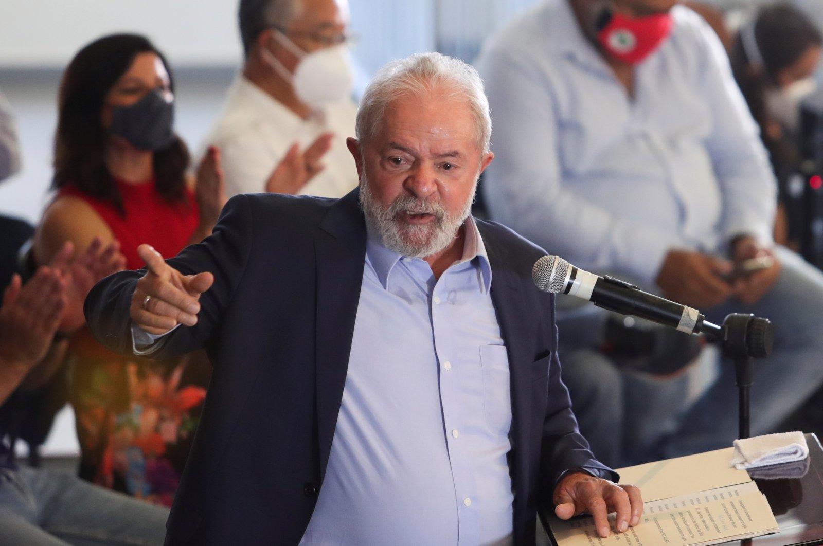 Brazil's former President Luiz Inacio Lula da Silva gestures as he speaks during a news conference in Sao Bernardo do Campo near Sao Paulo, Brazil March 10, 2021. (Reuters Photo)