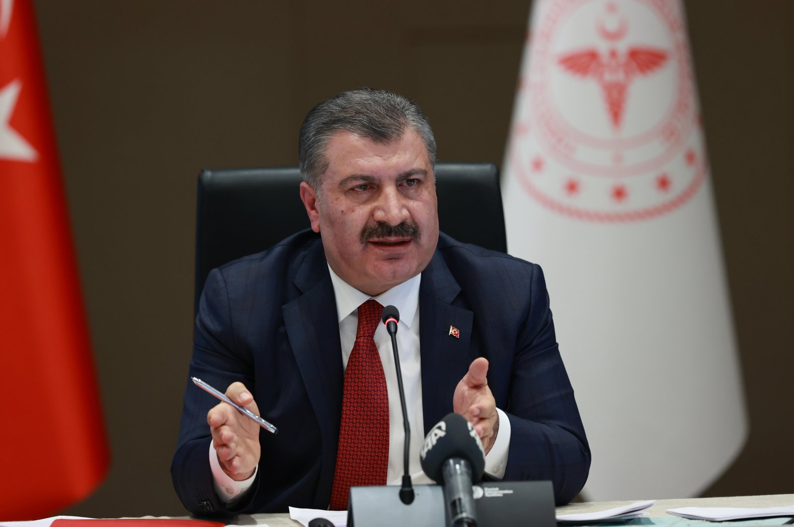 Turkey's Health Minister Fahrettin Koca holds press conference following aCoronavirus Scientific Advisory Committee meeting, Feb. 25, 2021. (AA Photo)