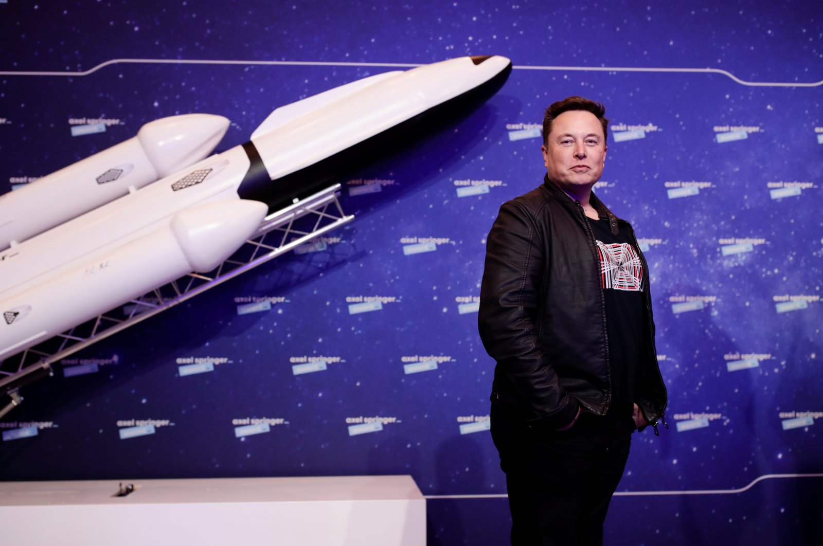 SpaceX owner and Tesla CEO Elon Musk poses after arriving on the red carpet for the Axel Springer award, in Berlin, Germany, 01 December 2020. (EPA Photo)
