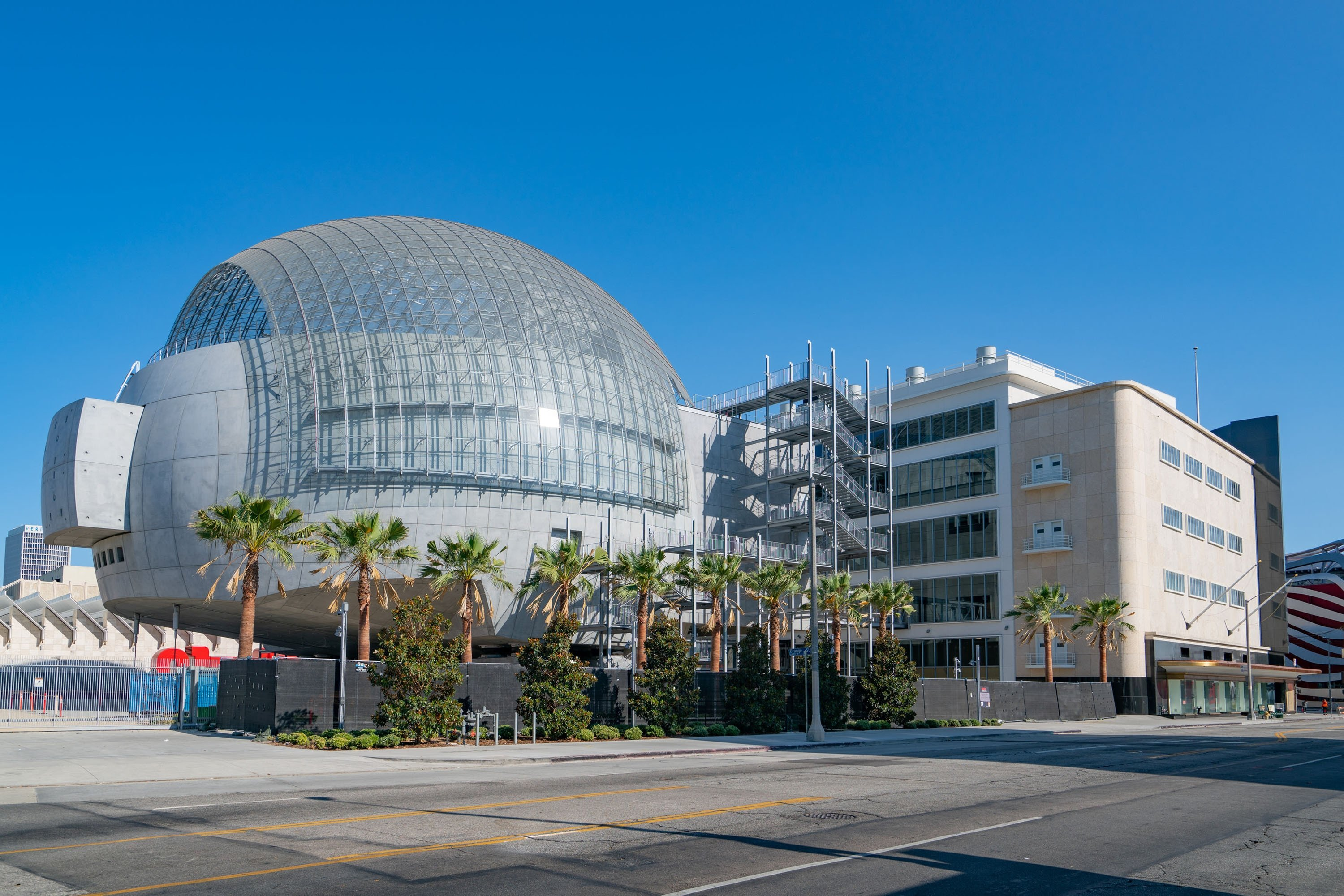 A general view of the Academy Museum of Motion Pictures and its attached spherical theater building, Los Angeles, California, U.S., Aug. 26, 2020.  (Getty Images)