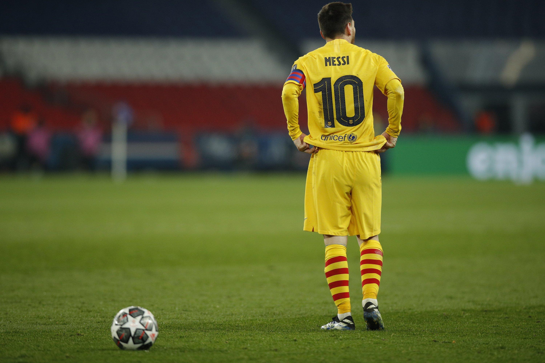 Barcelona's Lionel Messi reacts during a UEFA Champions League round of 16, second leg match against PSG at the Parc des Princes, Paris, France, March 10, 2021. (EPA Photo)