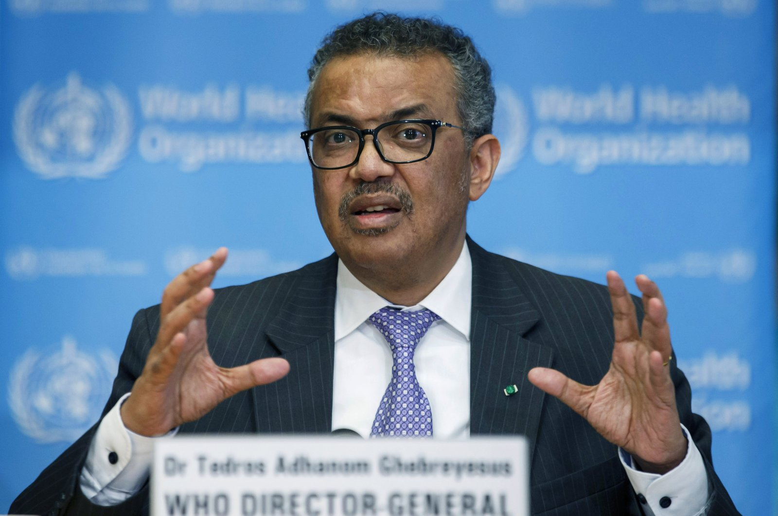 Tedros Adhanom Ghebreyesus, the director-general of the World Health Organization, speaks during a news conference, at the WHO headquarters in Geneva, Switzerland, March 9, 2020. (AP Photo)